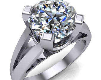 Abbey Round Moissanite 4 Prong Thick Split Shank Cathedral Ring