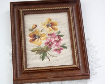 Framed Needlepoint Floral, Flowers Yellow and Pink