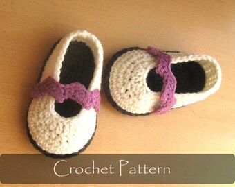CROCHET PATTERN - Chevron Baby Slippers Crochet House Pattern Sandals Girl Booties Shoes Mary Jane Pattern 0-12 months PDF - P0048