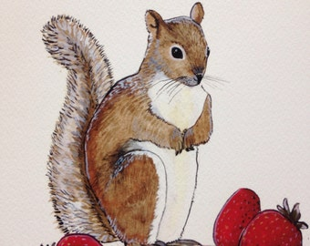 Squirrel and berries summer Print 8x10