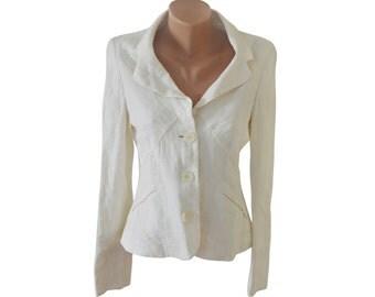 Vintage Sticky Fingers women white blazer 100% linen size 12