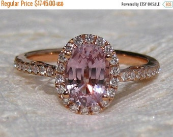 SUMMER SALE... Peachy Pink Sapphire in Rose Gold Diamond Halo Engagement Ring, Rose Gold Engagement Ring, Peach Sapphire Engagement Ring