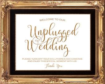 printable gold wedding sign, unplugged wedding sign, digital wedding sign gold, printable unplugged wedding sign, 8x10, you print