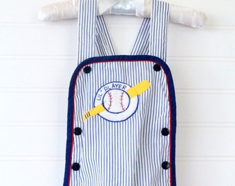 Vintage blue striped baby romper with baseball detailing and waterproof lining, no name romper for about 6-9 Mo