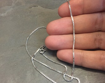"""16"""", 2mm, Vintage Italian sterling silver box chain, made in Italy silver chain"""