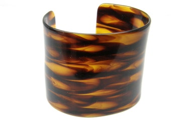 Faux Tortoise Cuff Bracelet Wide Lucite Resin Vintage Plastic teamvintageusa ecochic team