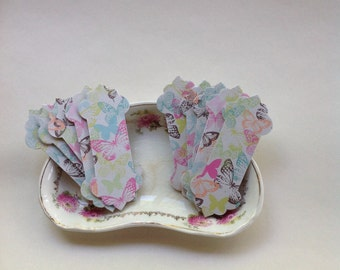 10 handmade thread winders for cross stitch threads with pastel butterfly's.