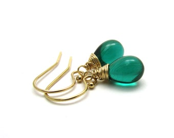 Small dark green drop earrings, emerald green earrings, Czech glass jewelry, gold delicate jewelry, dark green jewelry, teardrop earrings