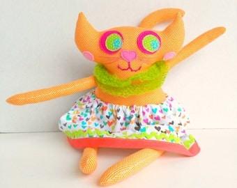 Plush cat doll, Stuffed cat, Girl cat doll, Cat decoration, Fabric cat art doll, Orange lime cat, Cat rag doll, Softie kitty cat, Cloth toy