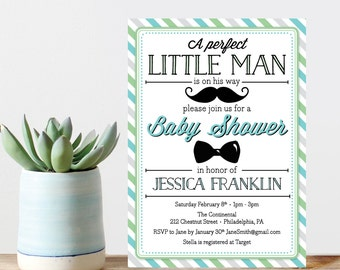 Little Man Baby Shower Invite - Baby Shower Invitation - Boy Baby Shower Invite - Mustache - Bow Tie - Blue - Little Man - Couples Shower