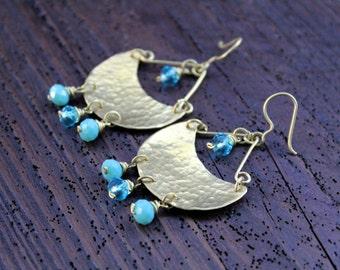 Hammered Brass Earrings Handmade