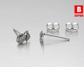 925 Sterling Silver Oxidized Earrings, Melon Earrings, Stud Earrings (Code : K10F)