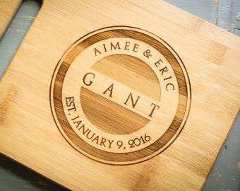 Custom Cutting Board, Engraved Cutting Board, Personalized Bamboo Cheese Board: Wedding, Housewarming, Anniversary Gift