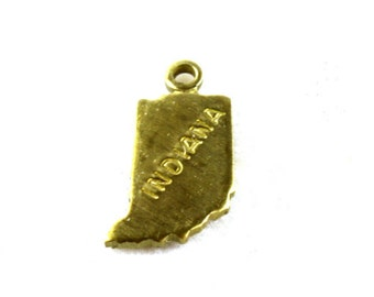 6x Brass Engraved Indiana State Charms - M057-IN