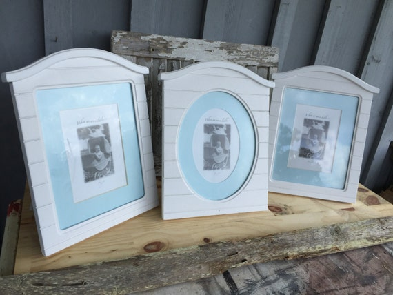 White picture frames  set if 3  blue mats baby nursery fits 5x7 with mat and 8x10'without  frame 0012