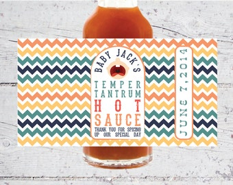 Baby Temper Tantrum Hot Sauce Labels   5 oz   Baby Shower Favors   Print-It-Yourself   Digital Download   Printable   Custom Labels