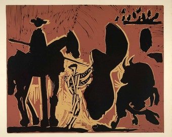 PABLO PICASSO - 'Before the goading of the bull' - limited edition vintage lithograph - c1962