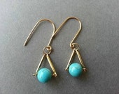 Gold Geometric Earrings; Triangle Earrings; Gold Turquoise Earring