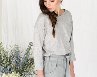 SALE!! Organic cotton grey 3/4 sleeve top