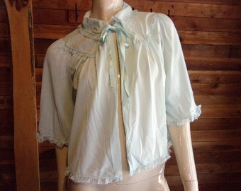 Vintage Lingerie 1950s SHADOWLINE Blue Bed Jacket Small