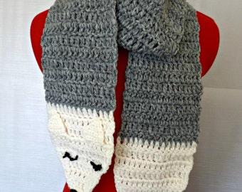 crochet scarf, fox scarf, wolf scarf, long crochet scarf, animal scarf, novelty scarf