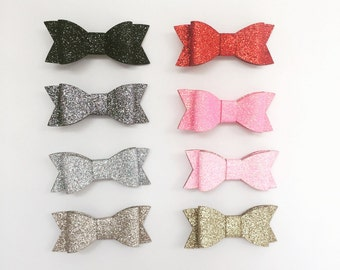 Glitter Leatherette Bows on Headband or Clip