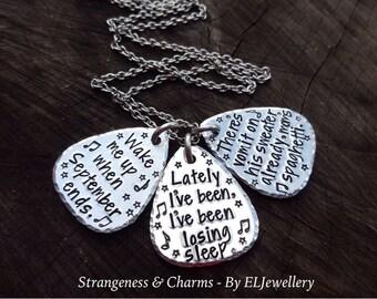 Hand Stamped 'Personalised Lyrics' Aluminium Guitar Pick Necklace, Music, Guitar Plectrum, Personalized, Lyrics, Metal Jewellery, Jewelry.