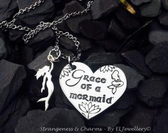 Hand Stamped 'Grace of a Mermaid' Heart Necklace with Sterling Silver Mermaid Charm, Mermaid Jewellery, Mermaid Necklace, Stamped Metal,OOAK