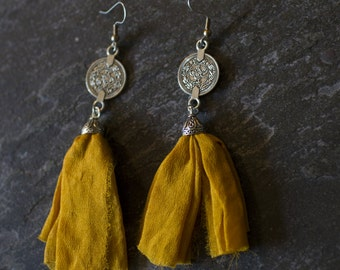 Yellow Sari Silk Tassel Earrings with Turkish Coin Charms