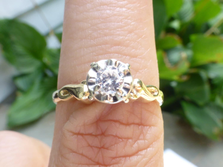 Fabulous Antique 14k Edwardian 20 Carat Diamond Engagement