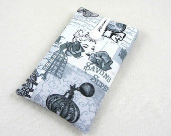 Grey and white phone sleeve, cotton phone case, smartphone sleeve, cell phone pouch, i phone case