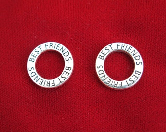 "BULK! 15pc ""Best friends"" charms in silver style (BC808B)"