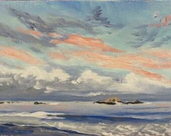 Evening Beach Scene, Original oil painting, impressionist, Maine coast