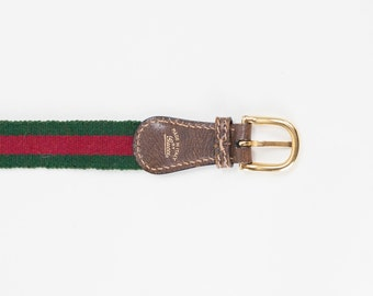 Classic 1970s Gucci Green and Red Web and Leather Belt // Size Small