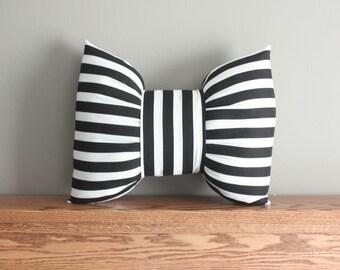 Black & White Pillow/ Stripe Bow Pillow/ Bow Pillow/ Black and White Stripe Bow Pillow/ Unique Pillow