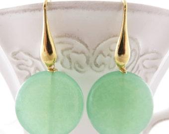Green jade earrings, dangle earrings, stone earrings, gold plated 925 sterling silver, disc earrings, gemstone jewelry, italian jewelry gift