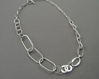 Silver Mixed Chain Necklace