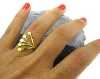 Elegant Ring, Unique Ring, Geometric Ring, Knuckle Ring, Elegant Gift, Design Ring, Open Ring, Boho Ring, Holiday Gift Ring, Adjustable Ring