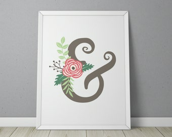 Printable Wall Art: Floral Ampersand, Bedroom Decor, Office Decor, Digital Print, Ampersand (Instant digital download - 8in x 10in JPG)
