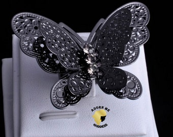 Oversized Black Butterfly Adjustable Ring