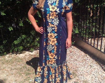 Long, blue, Hawaiian dress,medium,free US shipping