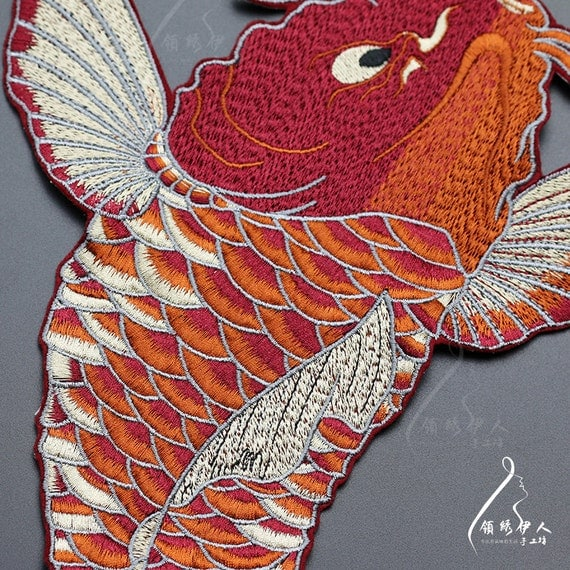 Huge koi nishikigoi red and white goldfish embroidery for Red and white koi
