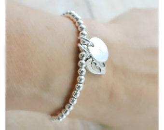 sterling silver beads bracelet • silver ball bracelet • silver baby footprint bracelet • personalized bracelet • gift to new Mom  • B053