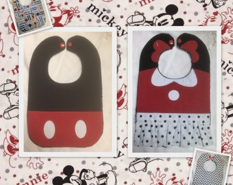 Mickey and Minnie Mouse  Character Bibs