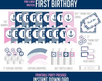 Navy, Pink Nautical Girl First Birthday Package, Banner, Cupcake toppers and wraps, Thank You tags and cards, Food labels ( PDN007 )