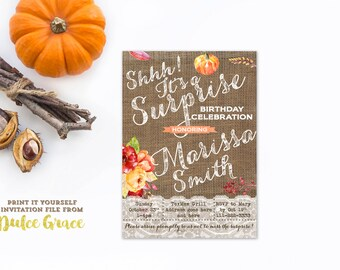 surprise party invites, autumn surprise birthday, fall leaves birthday invites, adult pumpkin invites, shhh it's a surprise, PRINTABLE