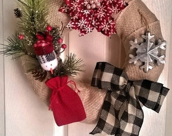 Rustic Country White Burlap Winter Wreath