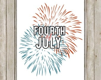 8x10 Fourth of July Printable Art, Independence Day Art Poster Print, Fireworks Art Poster, Holiday Wall Art Decor, Instant Download