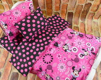 "18 inch Doll Bedding w Mattress | American Girl Doll Bedding | Pink Minnie Mouse | 18"" Doll Bedding | 18 in Doll Bedding | Doll Accessories"