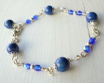 Blue bracelet, sapphire blue bracelet, royal blue bracelet, cobalt blue bracelet, silver bracelet, delicate bracelet